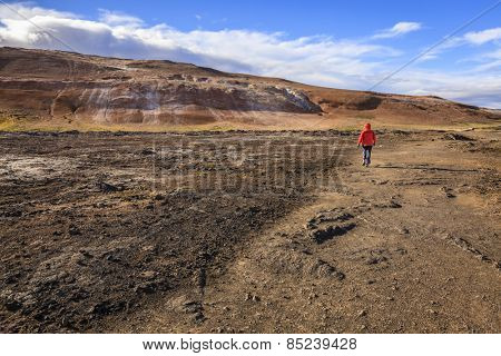 Hiking in Hverir - geothermal field in Northern Iceland