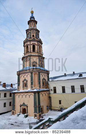 KAZAN, RUSSIA - JANUARY 4, 2015: Bell tower of the Peter and Pauls cathedral in a winter day. Built in 1723-1726, now it is federal listed cultural venue