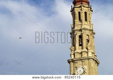 La Seo tower in Pilar Square, Zaragoza, Spain.