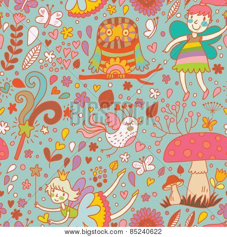 Lovely childish seamless pattern with fairies, mushrooms, birds and flowers. Spring floral vector background can be used for pattern fills, web page backgrounds, surface textures