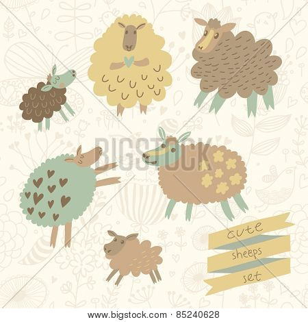 6 funny sheep in cartoon style in vector. Sweet childish farm animals in pastel colors