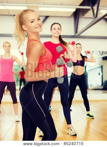fitness, sport and diet concept - smiling beautiful sporty woman with dumbbells