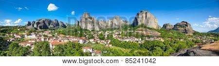 Beautiful panoramic view on Meteora and Trikala village, Greece.