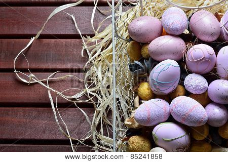 Easter eggs in a white wire basket