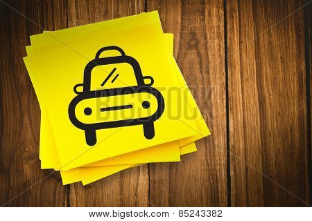 Taxi graphic against sticky note