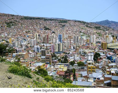 Capital Of Bolivia - La Paz - View On The Suburbs