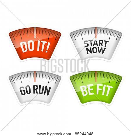 Bathroom scales displaying Do It, Start Now, Go Run and Be Fit messages.