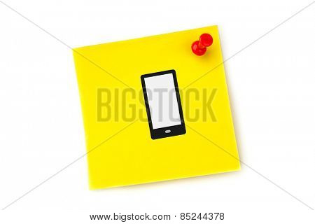 Smartphone against yellow pinned adhesive note