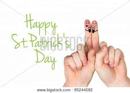 Patricks Day fingers against happy st patricks day