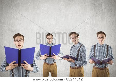 Nerd with notepad against white and grey background