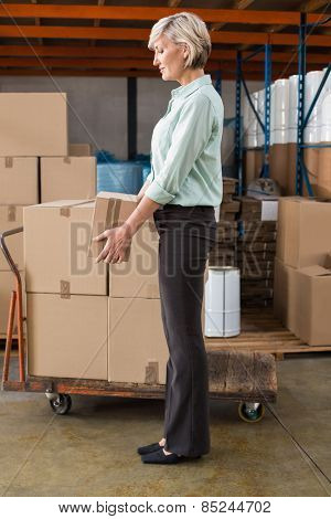 Warehouse manager holding cardboard box in a large warehouse