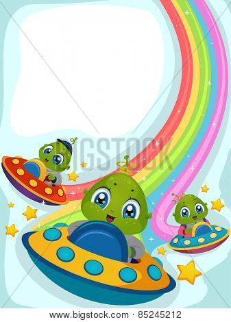 Illustration of Aliens Driving Spaceships Leaving Rainbow Trails