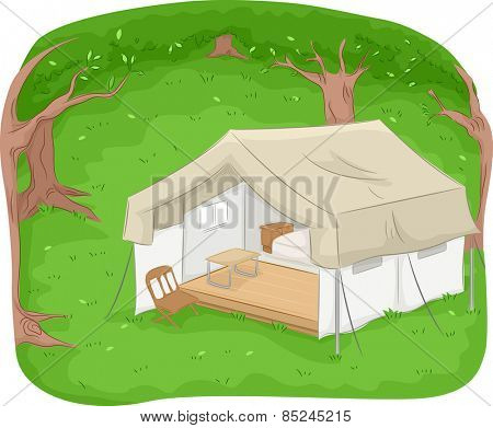 Illustration of a Safari Lounge in the Middle of the Woods