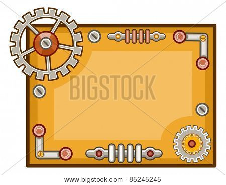 Steampunk Themed Background Illustration of Cogwheels and Gears