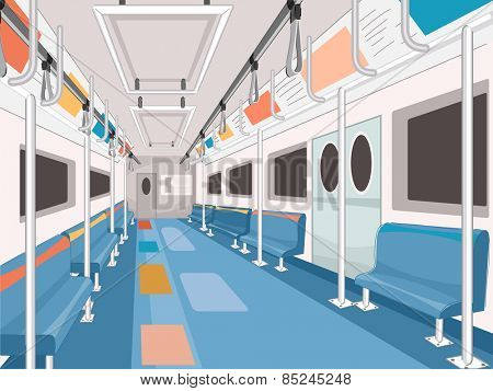 Illustration of a Clean and Empty Subway Train Car