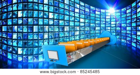 Cloud computing drawer against curve of digital screens in blue