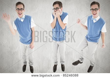 Nerd waving against white and grey background