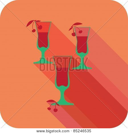 Three Glasses Liqueur Flat Design Stylized Vector Party Drink Icon