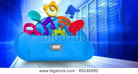 Cloud computing drawer against server room with towers