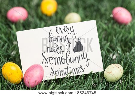 every bunny needs some bunny sometimes against blank greeting card with easter eggs