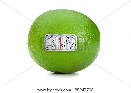weighing scales against lime