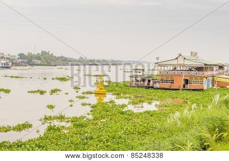 CHAU DOC, VIETNAM - JANUARY 2, 2013: the riverside of Bassac River in Chau Doc town