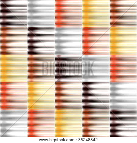 Seamless striped and checked pattern in warm colors. Hatched texture. Vector art. No gradient.