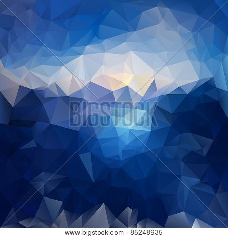 Vector Polygonal Background Pattern - Triangular Design In Sea And Sky