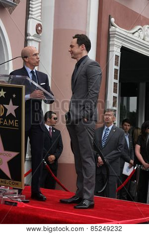 LOS ANGELES - MAR 11:  Jeffrey Katzenberg, Jim Parsons at the Jim Parsons Hollywood Walk of Fame Ceremony at the Hollywood Boulevard on March 11, 2015 in Los Angeles, CA