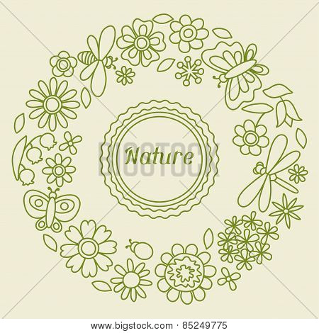 Natural card with beautiful flowers, beetles and butterflies.