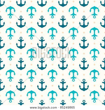 Retro seamless pattern with anchors. Marine background