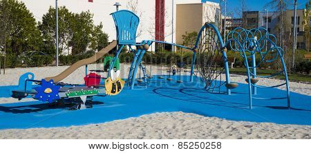A park or school with playground equipment