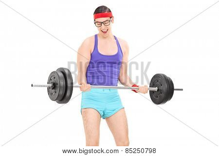 Nerdy guy exercising with a weight isolated on white background