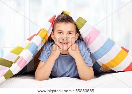 Little boy lying on bed covered with a blanket at home