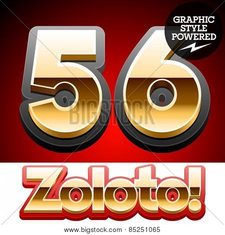 Vector set of classic 3D golden glossy font with black mat border. Optional different styles. Numbers 5 6