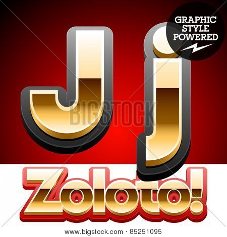 Vector set of classic 3D golden glossy font with black mat border. Optional different styles. Letter J