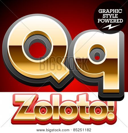 Vector set of classic 3D golden glossy font with black mat border. Optional different styles. Letter Q