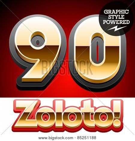 Vector set of classic 3D golden glossy font with black mat border. Optional different styles. Numbers 9 0