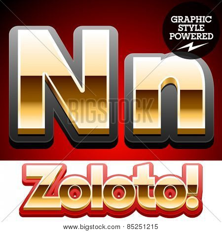 Vector set of classic 3D golden glossy font with black mat border. Optional different styles. Letter N
