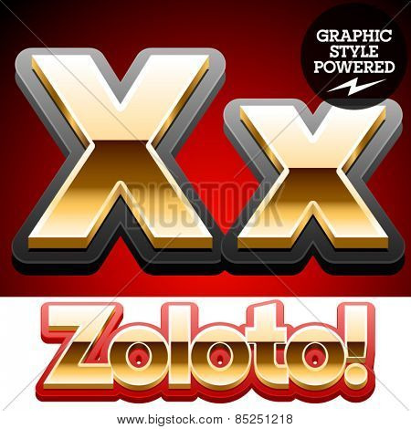 Vector set of classic 3D golden glossy font with black mat border. Optional different styles. Letter X