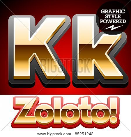 Vector set of classic 3D golden glossy font with black mat border. Optional different styles. Letter K
