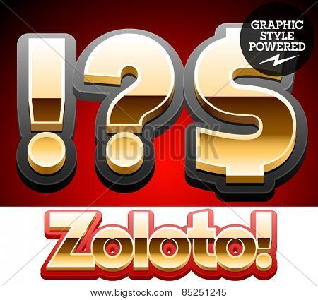 Vector set of classic 3D golden glossy font with black mat border. Optional different styles. Symbols