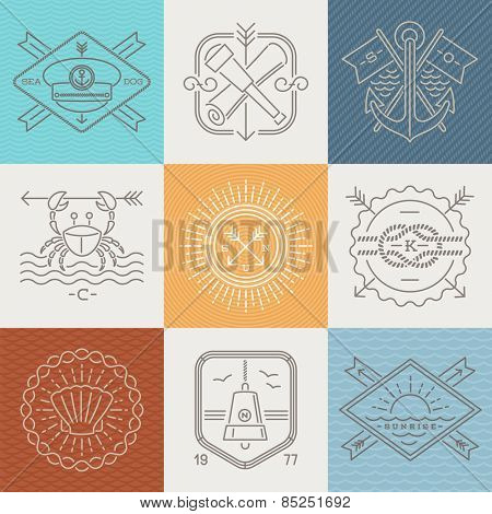 Adventures, nautical and travel emblems signs and labels - Line drawing vector illustration