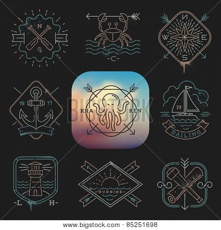 Line drawing vector illustration - Nautical, adventures and travel emblems signs and labels on a black background
