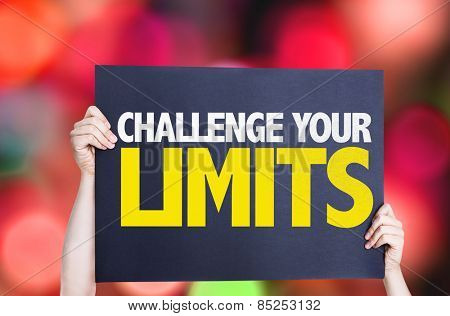 Challenge Your Limits card with bokeh background