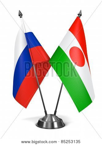 Russia and Niger - Miniature Flags.