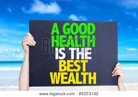 A Good Health is the Best Wealth card with beach background