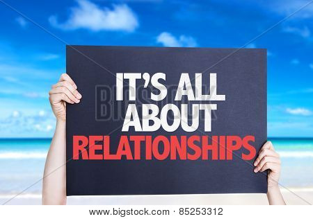 It's All About Relationships card with beach background