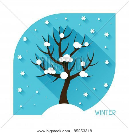 Seasonal illustration with winter tree in flat style.