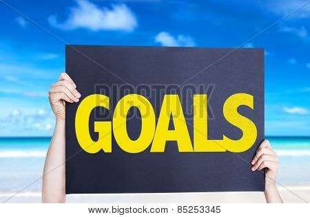 Goals card with beach background